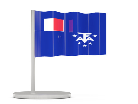 territories: Pin with flag of french southern territories. 3D illustration