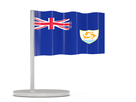 anguilla: Pin with flag of anguilla. 3D illustration