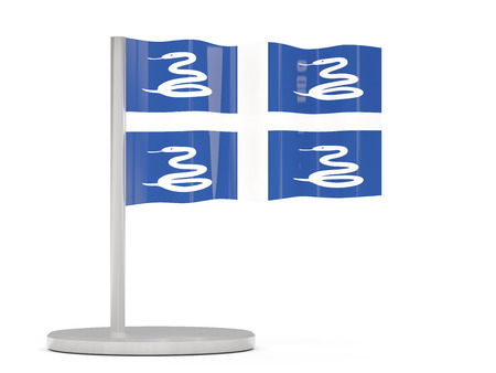 martinique: Pin with flag of martinique. 3D illustration Stock Photo