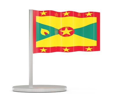grenada: Pin with flag of grenada. 3D illustration