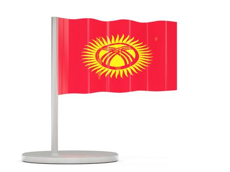 kyrgyzstan: Pin con la bandera de Kirguistán. ilustración 3D