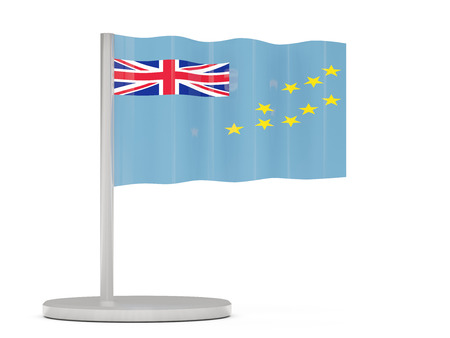 tuvalu: Pin with flag of tuvalu. 3D illustration Stock Photo
