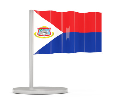 sint: Pin with flag of sint maarten. 3D illustration Stock Photo