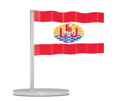french flag: Pin with flag of french polynesia. 3D illustration Stock Photo