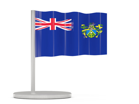 pitcairn: Pin with flag of pitcairn islands. 3D illustration