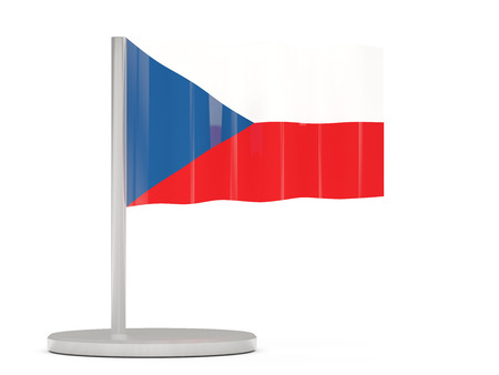 the czech republic: Pin with flag of czech republic. 3D illustration Stock Photo