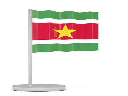 suriname: Pin with flag of suriname. 3D illustration
