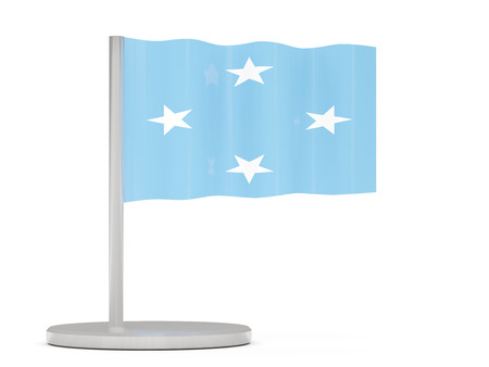 micronesia: Pin with flag of micronesia. 3D illustration