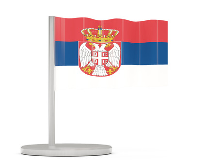 serbia: Pin with flag of serbia. 3D illustration Stock Photo