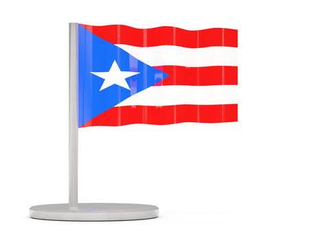 bandera de puerto rico: Pin con la bandera de Puerto Rico. ilustración 3D