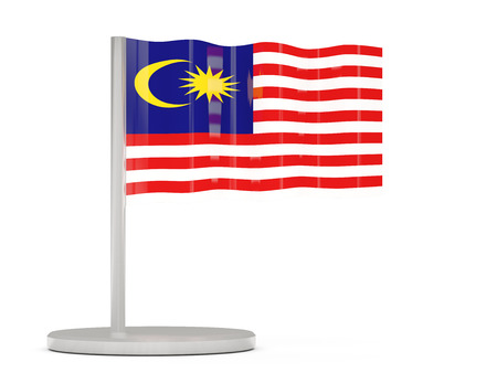 flag icon: Pin with flag of malaysia. 3D illustration