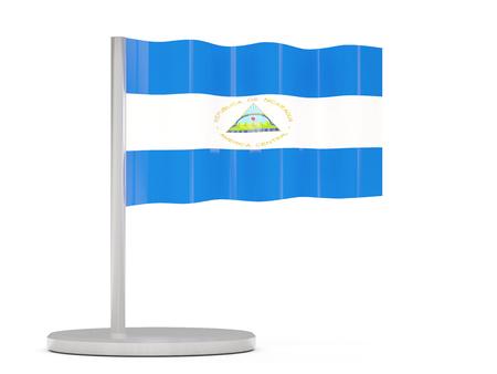 nicaragua: Pin with flag of nicaragua. 3D illustration