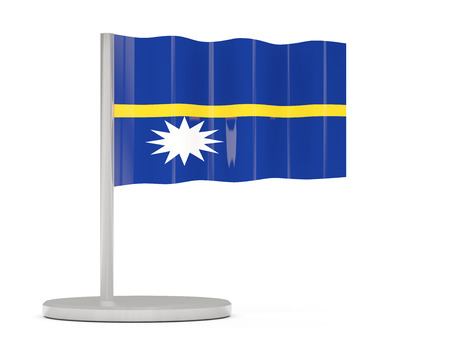 nauru: Pin with flag of nauru. 3D illustration