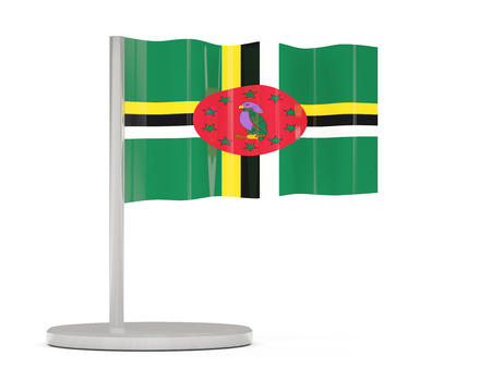 dominica: Pin with flag of dominica. 3D illustration
