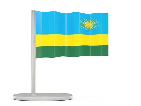 rwanda: Pin with flag of rwanda. 3D illustration