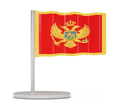 Pin with flag of montenegro. 3D illustration Stock Photo