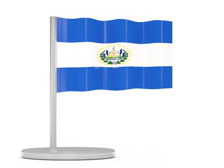 bandera de el salvador: Pin con la bandera de El Salvador. ilustración 3D Foto de archivo