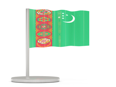 flagpole: Pin with flag of turkmenistan. 3D illustration