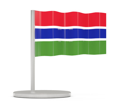 gambia: Pin with flag of gambia. 3D illustration Stock Photo