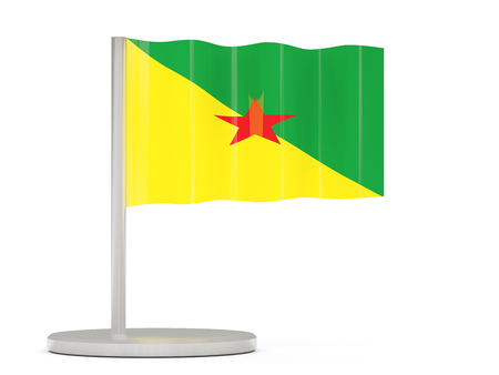 french flag: Pin with flag of french guiana. 3D illustration Stock Photo