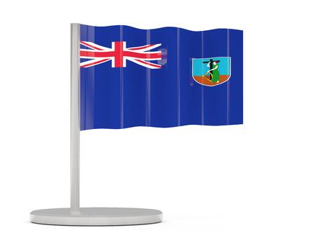 montserrat: Pin with flag of montserrat. 3D illustration
