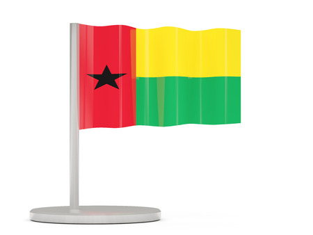 bissau: Pin with flag of guinea bissau. 3D illustration Stock Photo