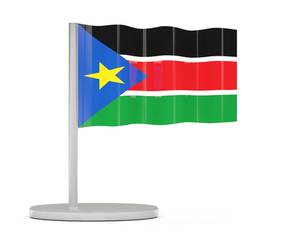 south sudan: Pin with flag of south sudan. 3D illustration Stock Photo