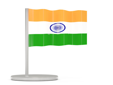 india 3d: Pin with flag of india. 3D illustration Stock Photo