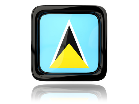 lucia: Square icon with flag of saint lucia. 3D illustration Stock Photo