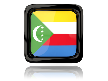 comoros: Square icon with flag of comoros. 3D illustration