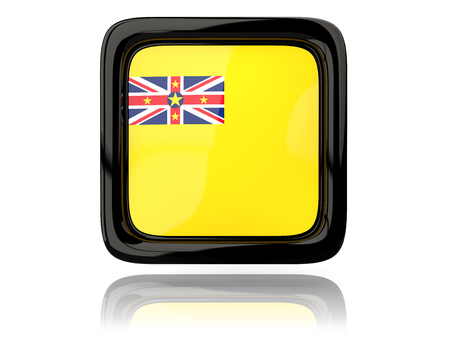 niue: Square icon with flag of niue. 3D illustration