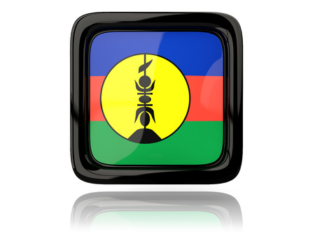 new caledonia: Square icon with flag of new caledonia. 3D illustration