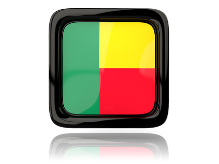 benin: Square icon with flag of benin. 3D illustration