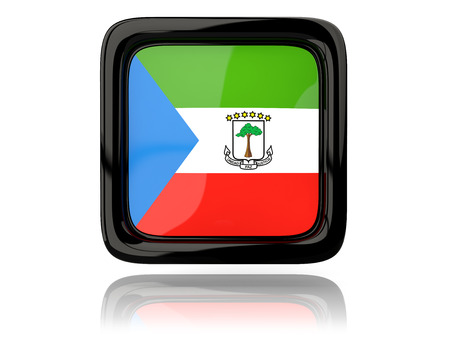 equatorial guinea: Square icon with flag of equatorial guinea. 3D illustration