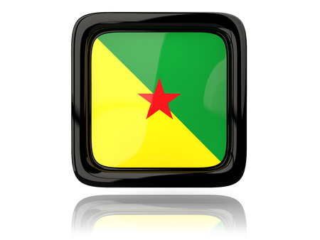 guiana: Square icon with flag of french guiana. 3D illustration