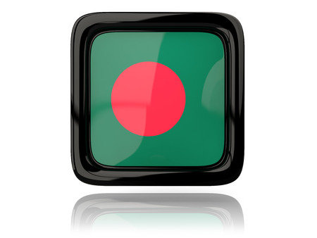 bangladesh 3d: Square icon with flag of bangladesh. 3D illustration