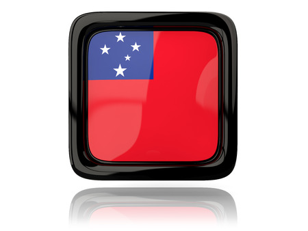 samoa: Square icon with flag of samoa. 3D illustration