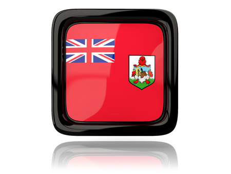 bermuda: Square icon with flag of bermuda. 3D illustration