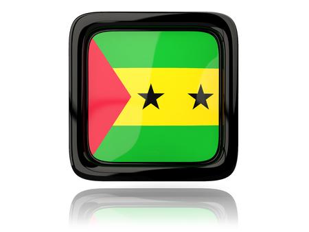 principe: icono cuadrado con la bandera de Sao Tome y Principe. ilustración 3D Foto de archivo