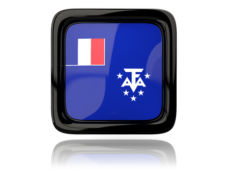 flag french icon: Square icon with flag of french southern territories. 3D illustration