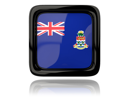 cayman islands: Square icon with flag of cayman islands. 3D illustration