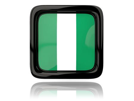 nigeria: Square icon with flag of nigeria. 3D illustration