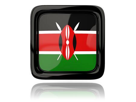kenya: Square icon with flag of kenya. 3D illustration Stock Photo