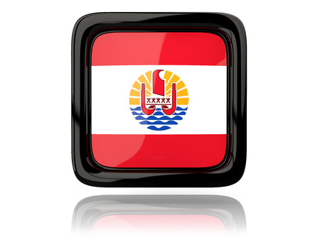 flag french icon: Square icon with flag of french polynesia. 3D illustration