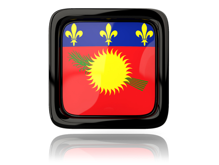 guadeloupe: Square icon with flag of guadeloupe. 3D illustration