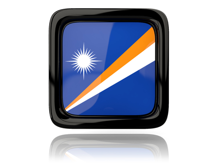 marshall: Square icon with flag of marshall islands. 3D illustration