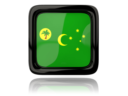 cocos: Square icon with flag of cocos islands. 3D illustration