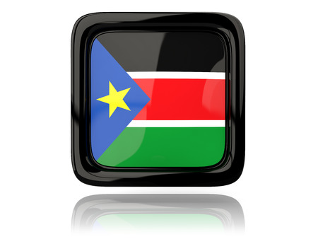 south sudan: Square icon with flag of south sudan. 3D illustration