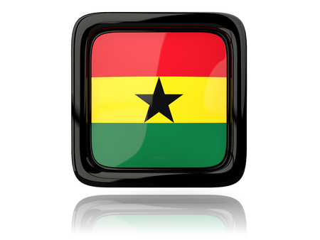 ghana: Square icon with flag of ghana. 3D illustration