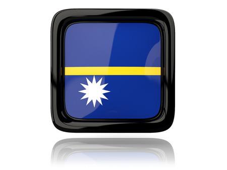 nauru: Square icon with flag of nauru. 3D illustration